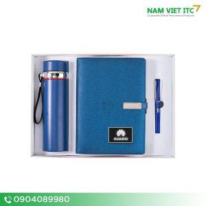 Bộ Giftset văn phòng bình giữ nhiệt + sổ da + bút ký in logo BVP07