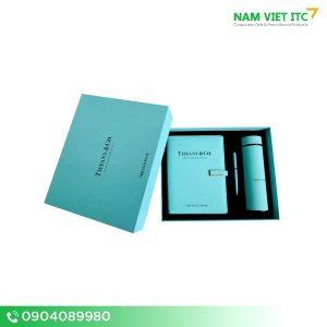 Bộ Giftset văn phòng bình nước giữ nhiệt + bút ký + sổ da in logo BVP09