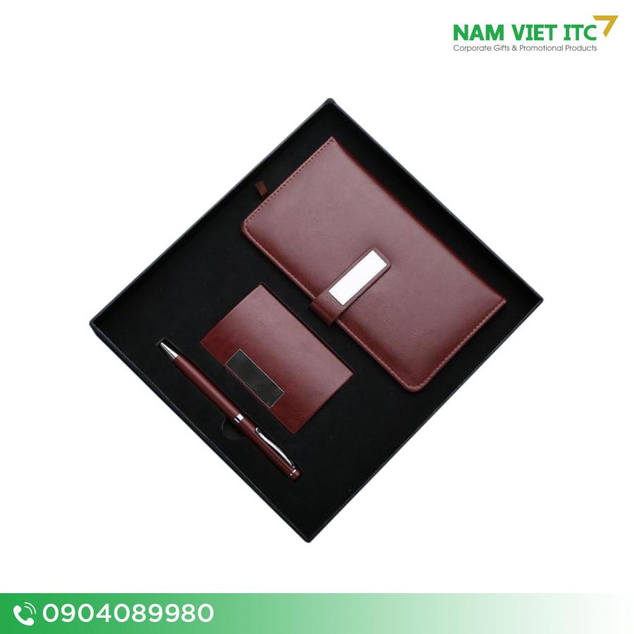 Bộ Giftset văn phòng in logo sổ da + bút ký + hộp name card BVP05