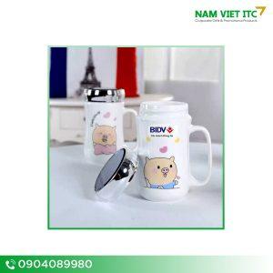 Cốc sứ có nắp tráng gương in logo BIDV